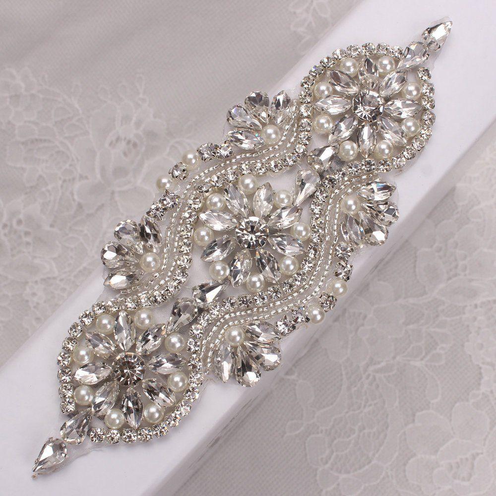Crystal applique for dresses bridal sash or garters