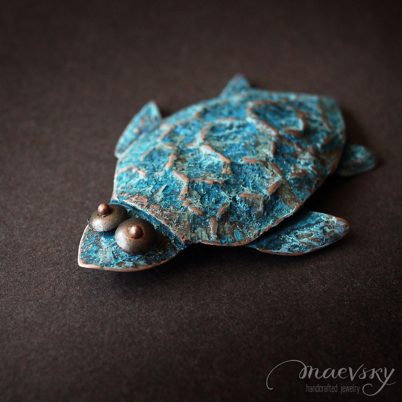 """Медная брошь """"Морская черепаха"""" украшение, медное ..."""