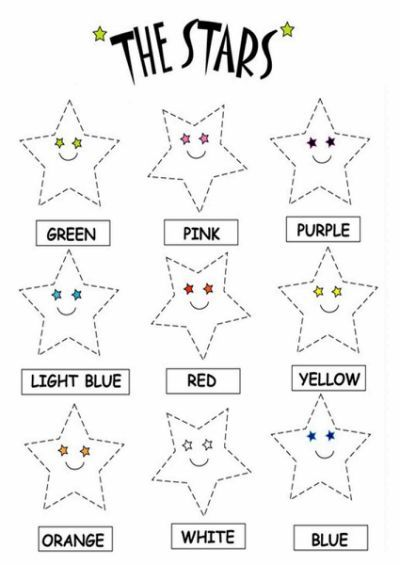Kids Page: Color the Stars Worksheets   Colors   Pinterest ...