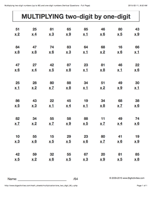 Multiplication Worksheets  Multiplying TwoDigit By OneDigit