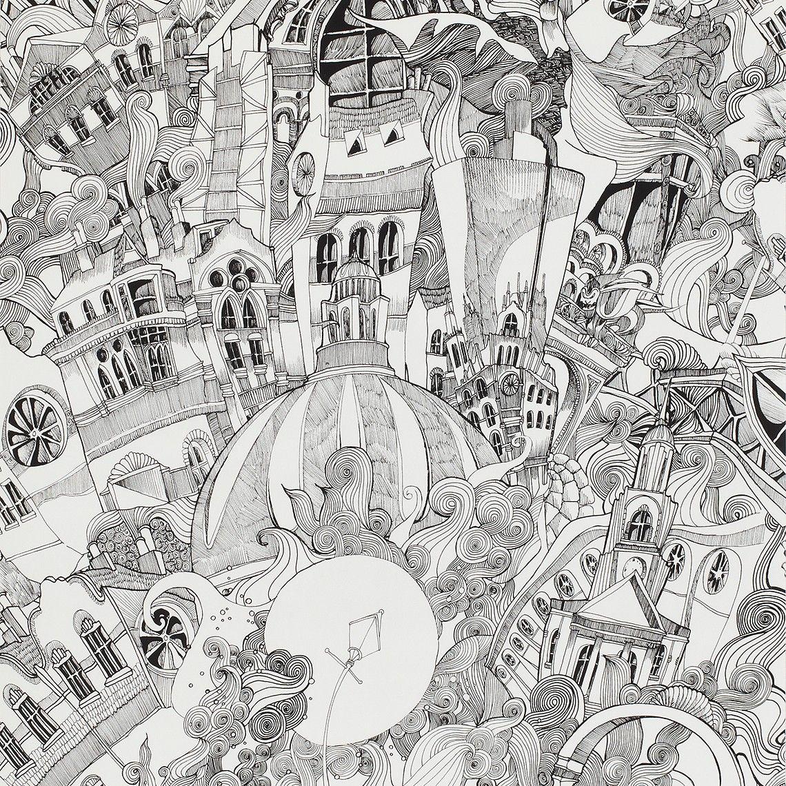 Papier peint BALTHAZAR intissé imitation dessin, noir et blanc ...