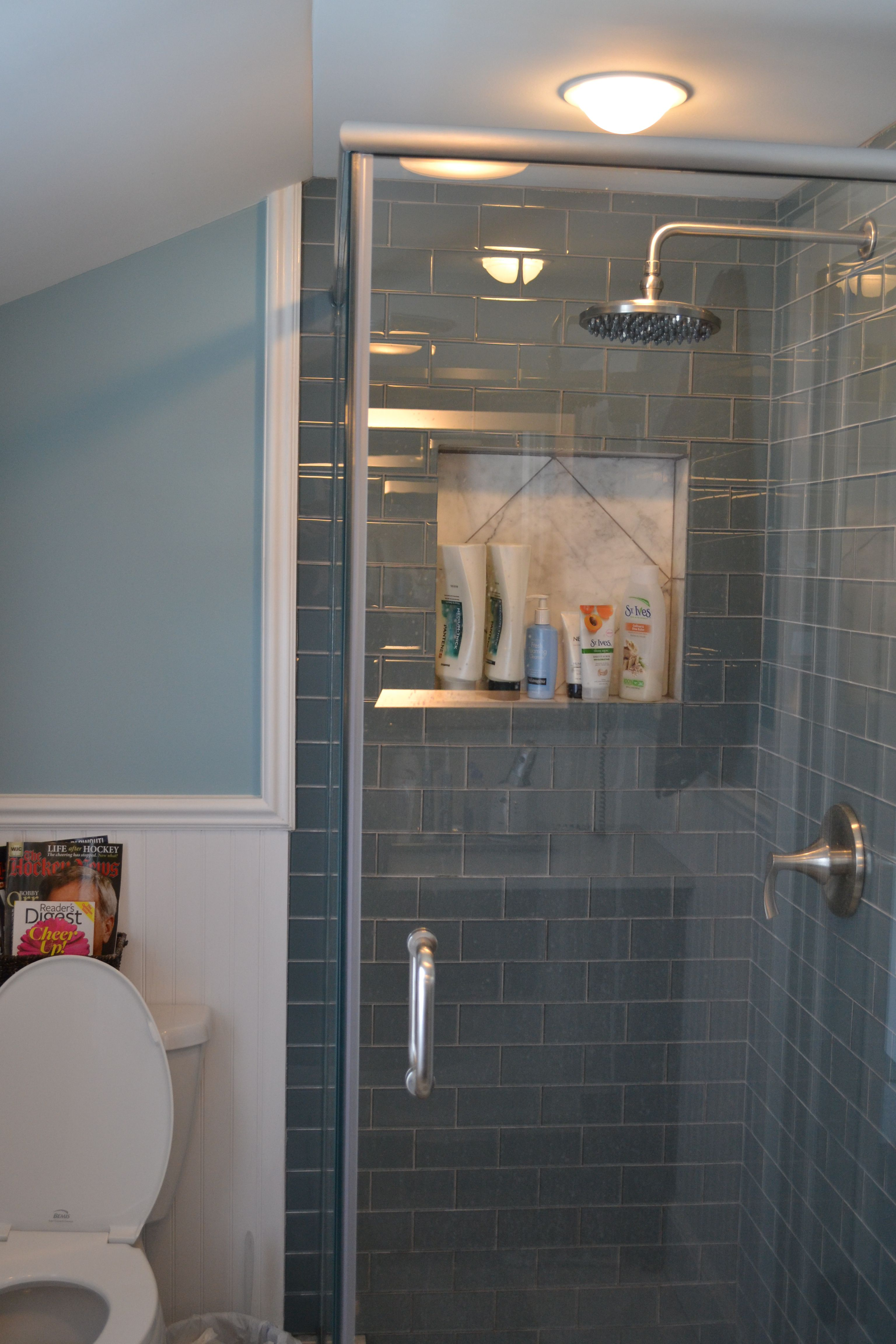 Ice Gray Glass Subway Tile | Shower Tile - Glass and Mother of Pearl ...