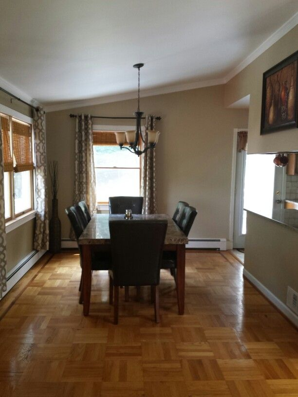 Dining Room Kirkland S Curtains Wall Color Is Behr S Gobi Desert Dining Room Decor Dining Room Colors Living Room Orange