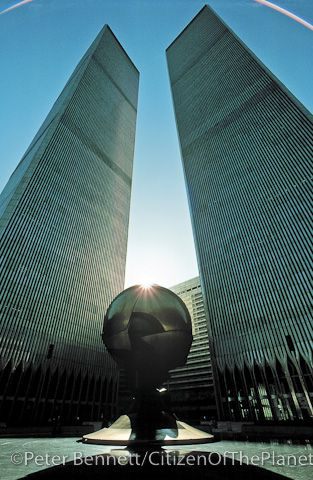 The Twin Towers with the bronze sculpture