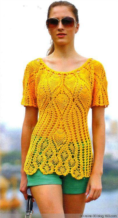 Abacaxi flor de crochê manga curta - Renee - Lei Yu Xuan | crochet ...