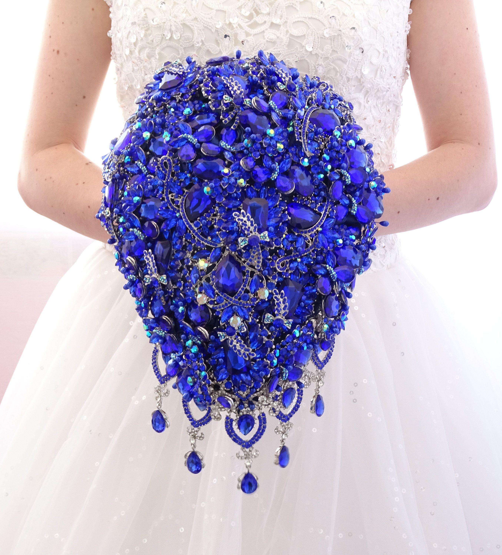 Luxury brooch bouquet full jeweled royal blue crystal teardrop