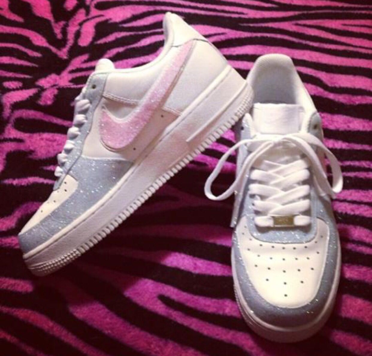 size 40 f0433 13400 Nike Air Force Ones Pink   Blue Bling.