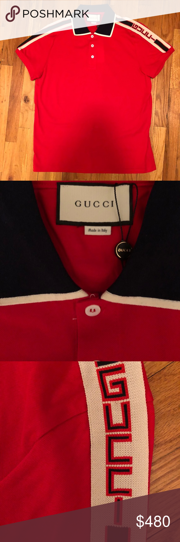 5b4adce2 Gucci Cotton Polo With Gucci Stripe Red Brand New With Tags. Size Large  Gucci Shirts Polos