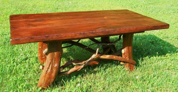 Rustic Handmade Mountain Laurel And Red Stained Pine Coffee Tail Table Log Cabin Furniture By J Wade On Etsy 395 00