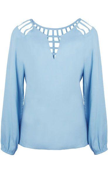 bc761ec82f Encontre outlet-roupas-blusas DASLU - Blusa Daslu tiras - azul - OQVestir