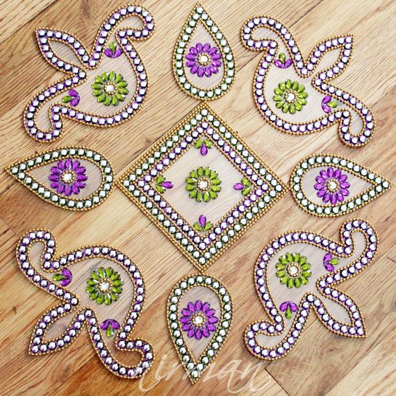 Kundan rangoli floor art set of 9 pieces floor art for Floor rangoli design