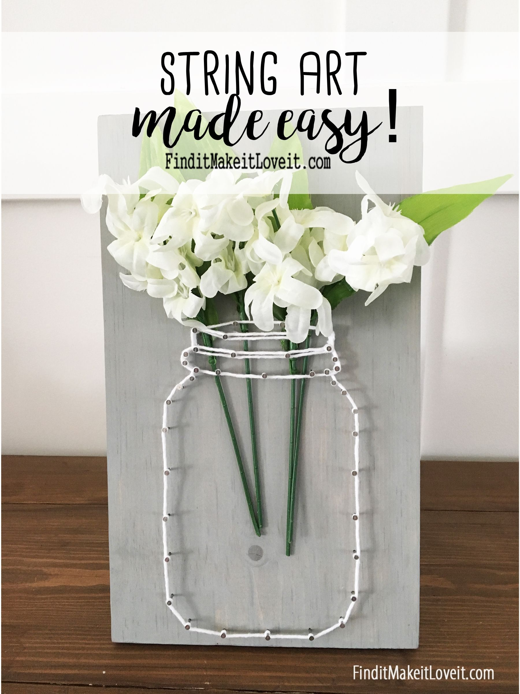 Mason Jar String Art - the easiest way possible to try string art ...