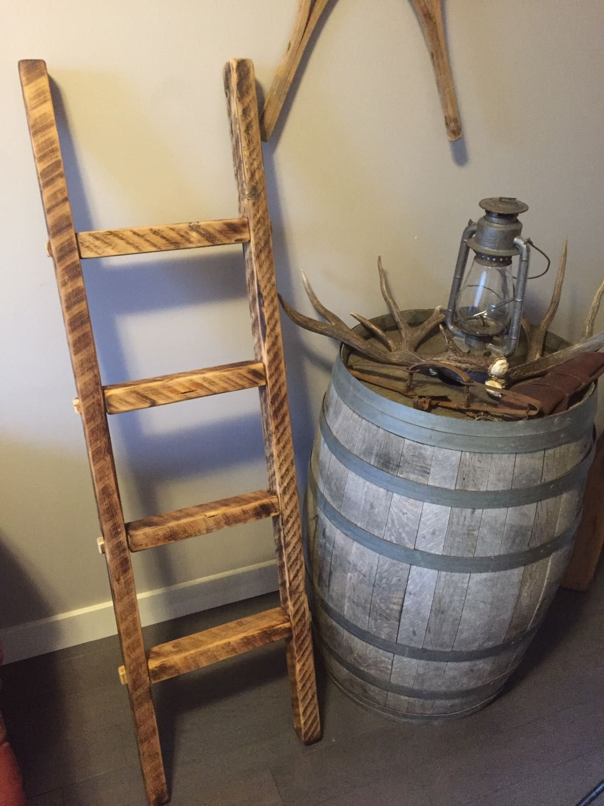 Blanket ladder made from reclaimed barnwood handcrafted