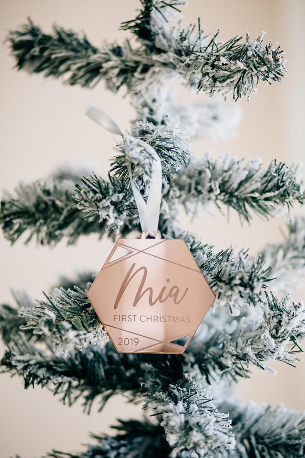 Babys First Christmas Geometric Personalized Ornament