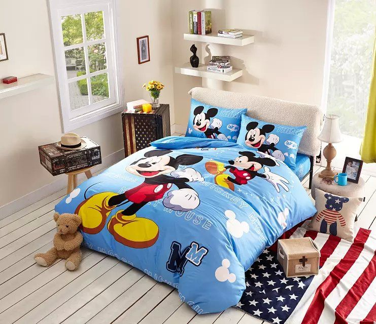 Sky Blue Mickey Mouse Comforter Set Classic Mickey Mouse Bedding