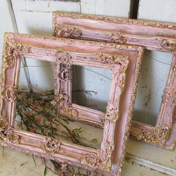 bd5c93387735 Pink frame grouping gold accented ornate wood and gesso frames shabby  cottage chic wall hanging home decor anita spero design