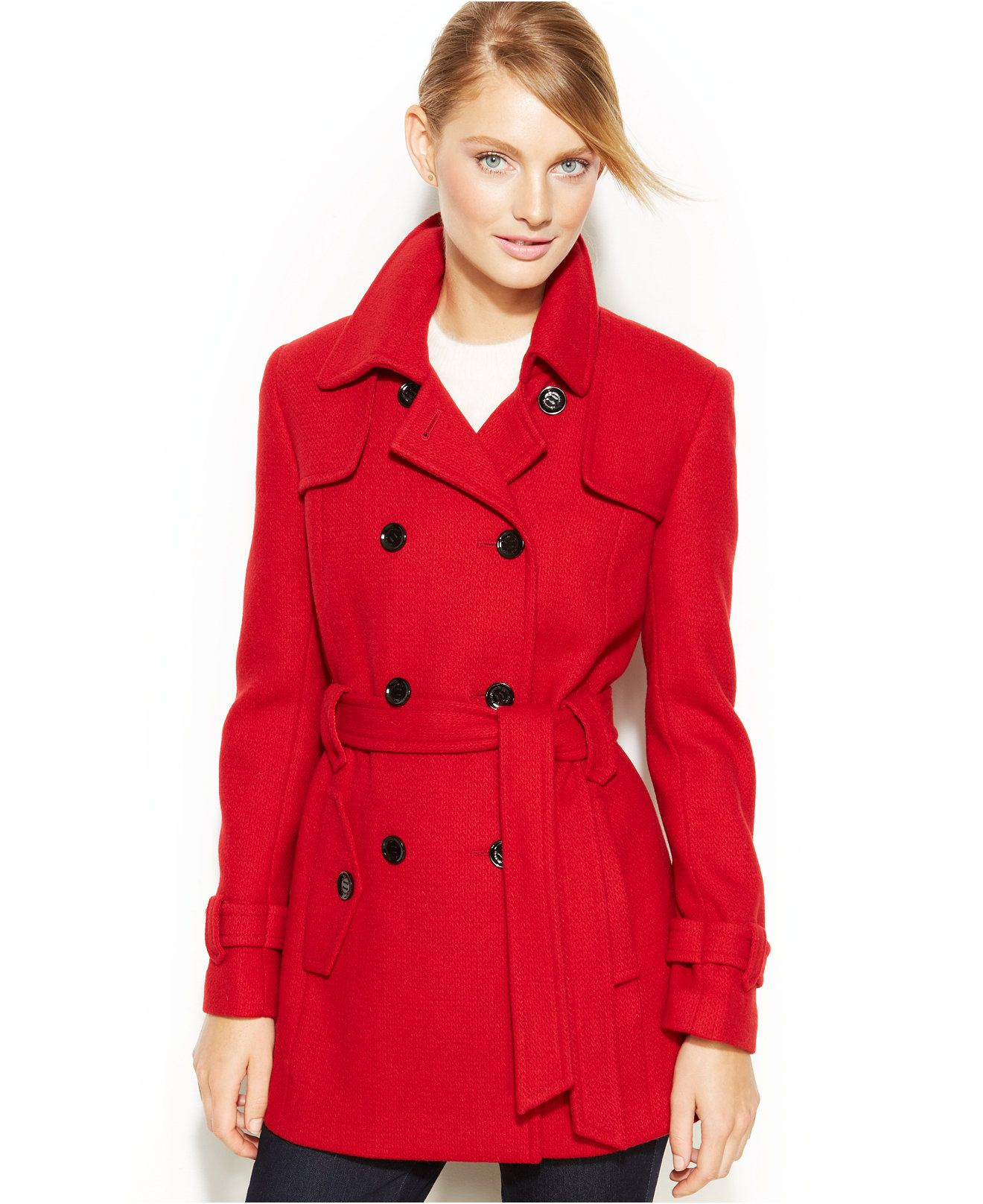 fab1c059335ee Calvin Klein Double-Breasted Belted Pea Coat - Coats - Women - Macy s