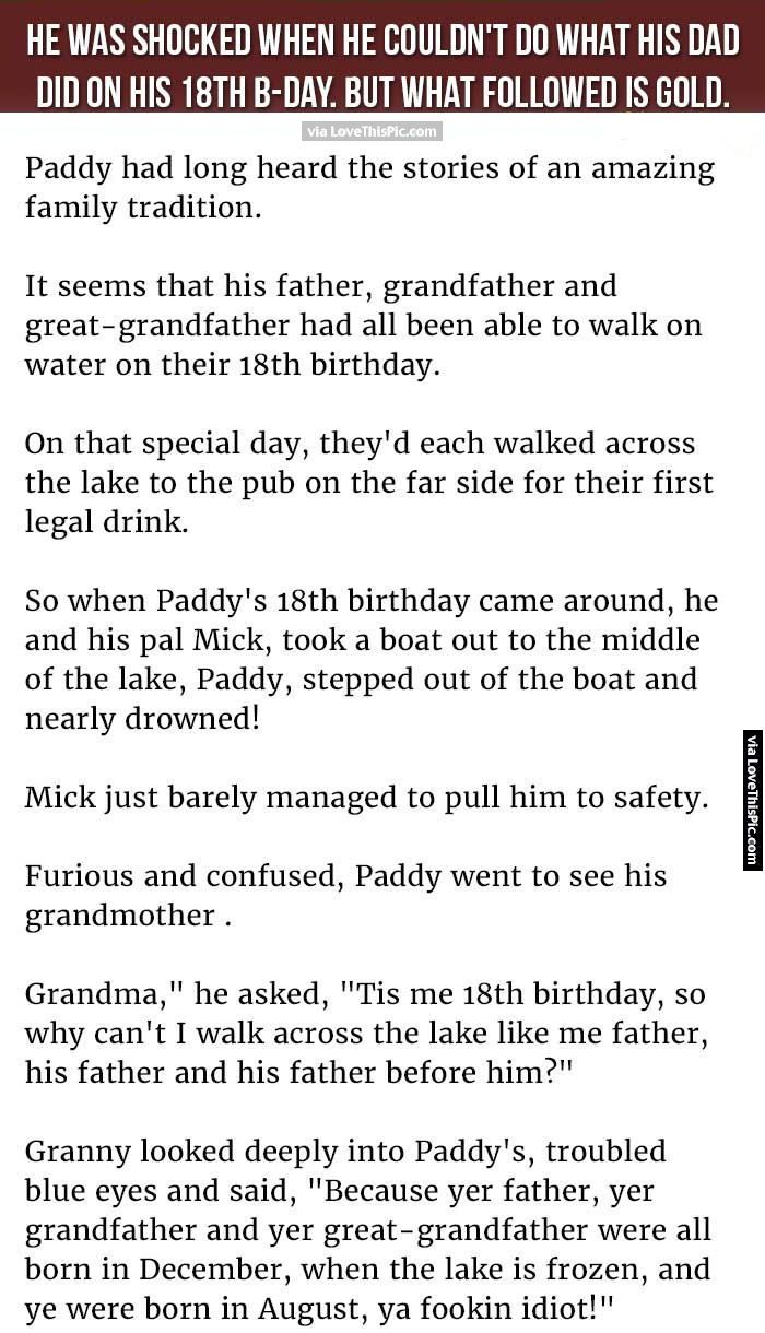 He Was Shocked When He Couldn T Do What His Dad Did On His 18th Birthday But What Followed Is Gold Funny Jokes Story Lol Joke Stories Funny Quotes Funny Jokes
