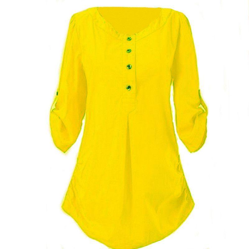 Women Shirts Yellow Blouse Black Large Size Mother Cotton Shirt