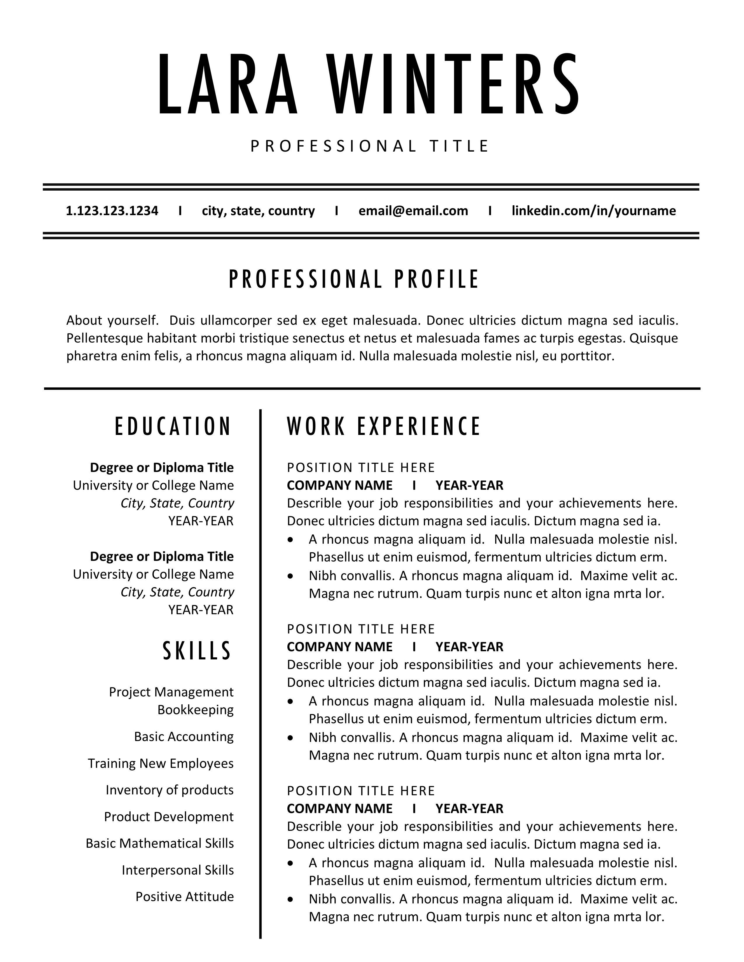 Minimalist Resume Templates, Modern CV Template, Best