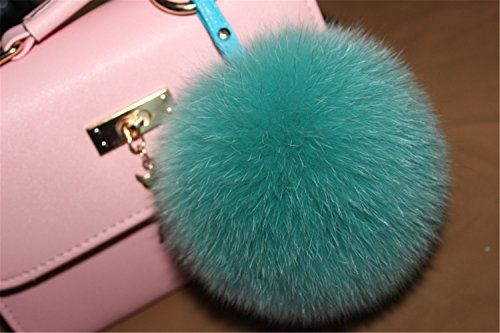 3b2ed3d3e061 HEARTFEEL Real Fox Fur Pom Pom Fur Keychain Furball Furry Pom  Bag Purse  Charm Gold
