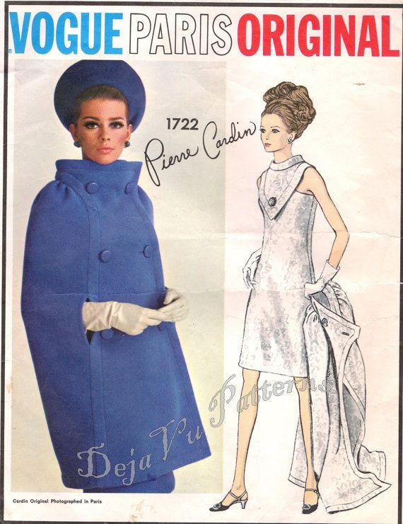 Pierre Cardin Misses/' Coat size 12 bust 32 hip 34 Vintage 1960s Vogue Paris Original Pattern 1712