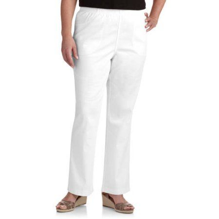Just My Size Women's Plus-Size 4-Pocket Boot cut Pull-On Pants, and Plus-Size Petite, Size: 16W Petite, White