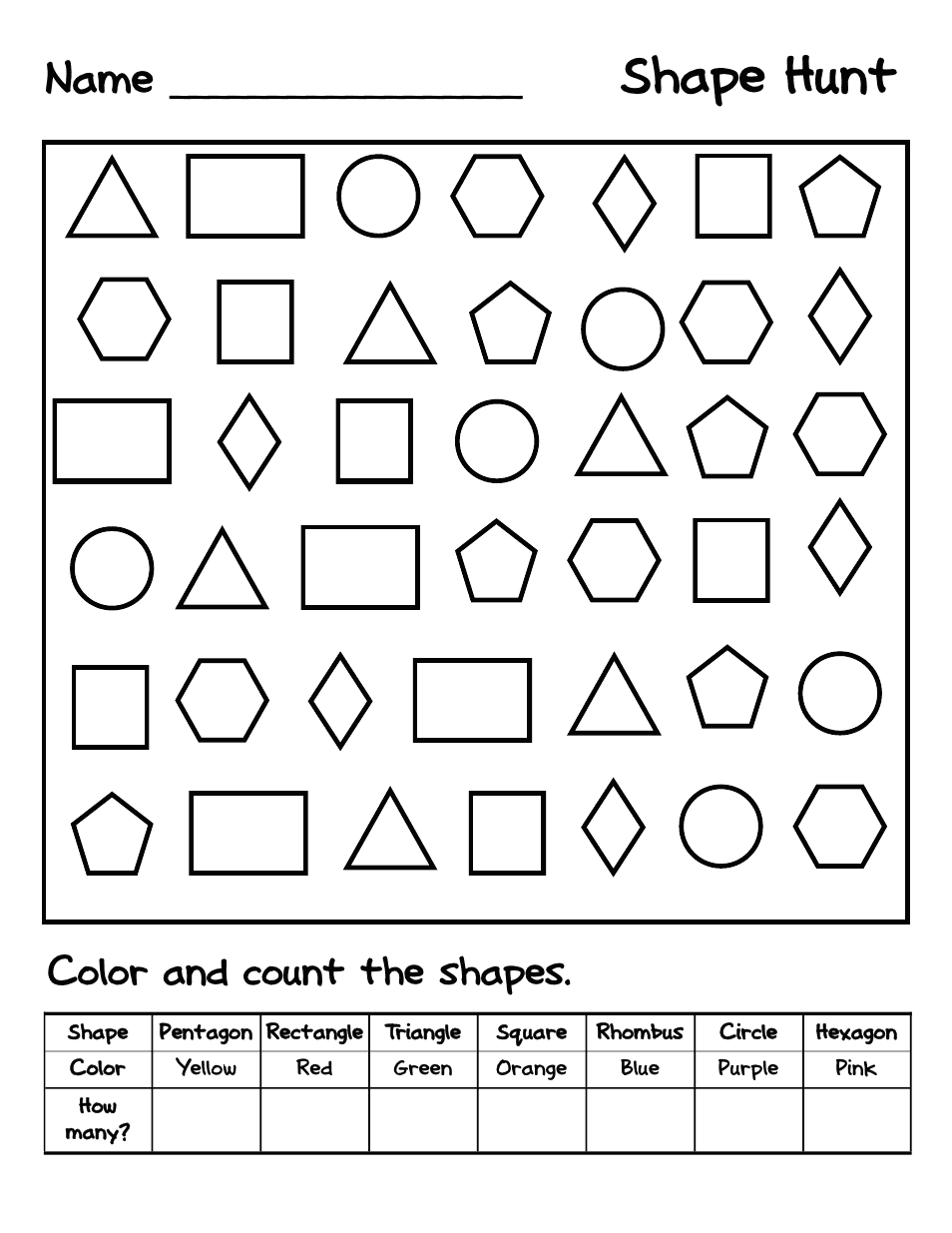 Shape Hunt.pdf   Google Drive   Shapes worksheet ...