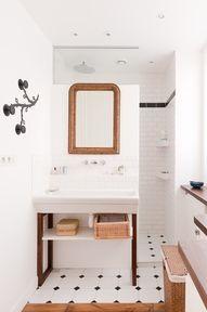 Interesting. shower behind sink wall