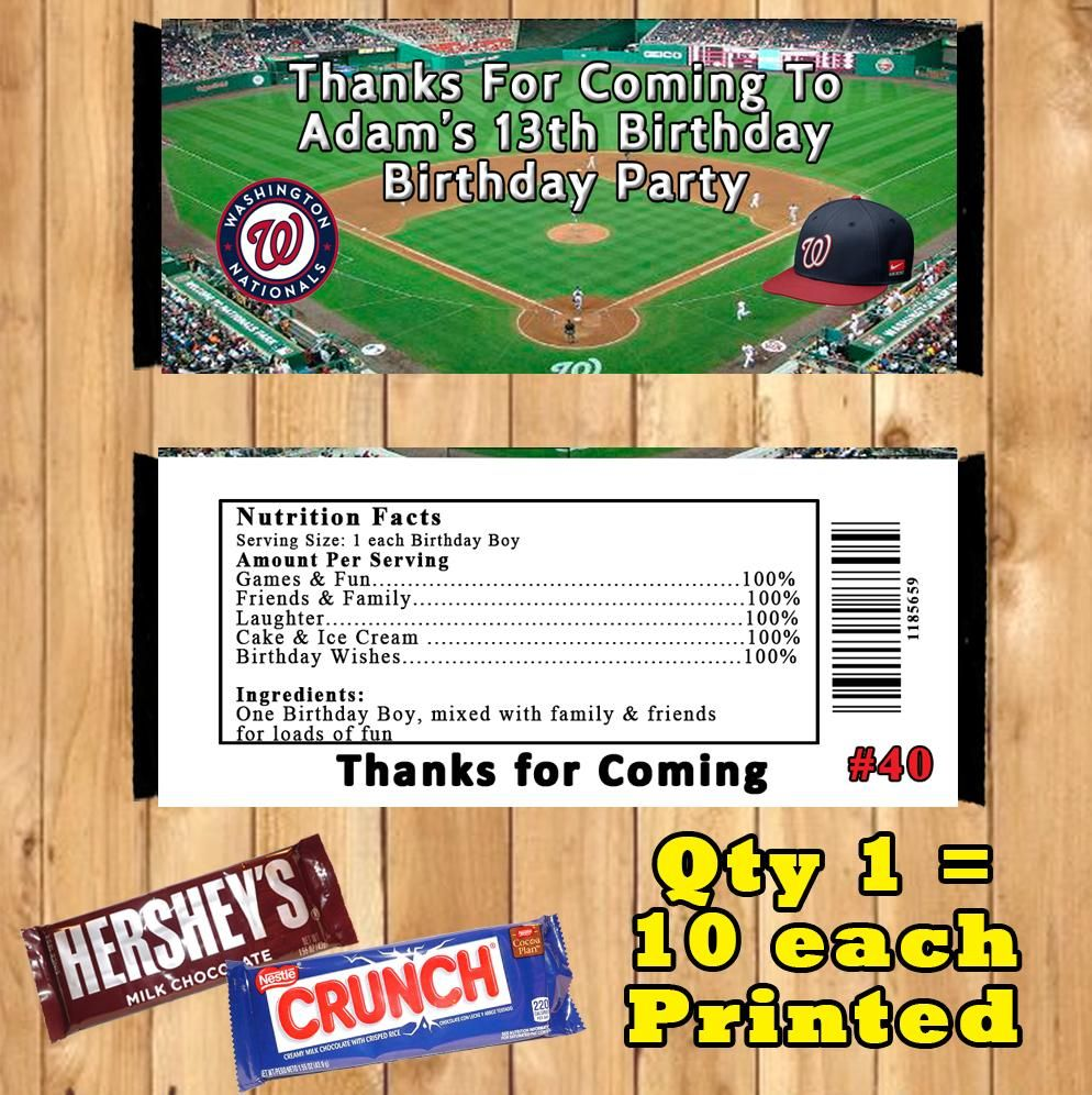 Baseball Mlb Printed Birthday Candy Bar Wrappers 10 Ea Personalized Custom Made Candy Bar Birthday Birthday Candy Bar Wrappers Candy Bar Wrappers