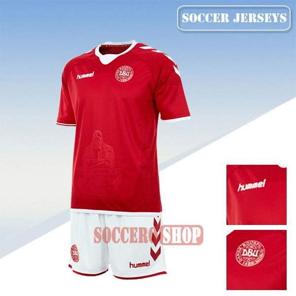Design Your Own New Denmark Red Soccer Home Jersey From