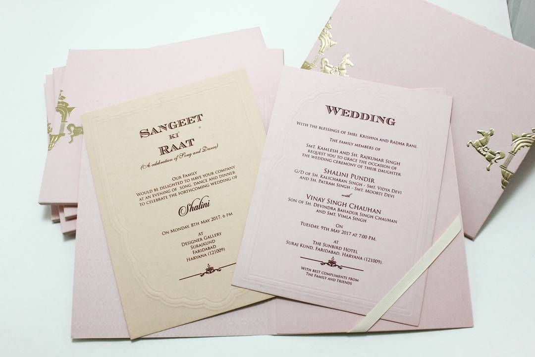 Sangeet And Wedding Invitation With Maroon Colour Printing Inserts Have Embossed Design