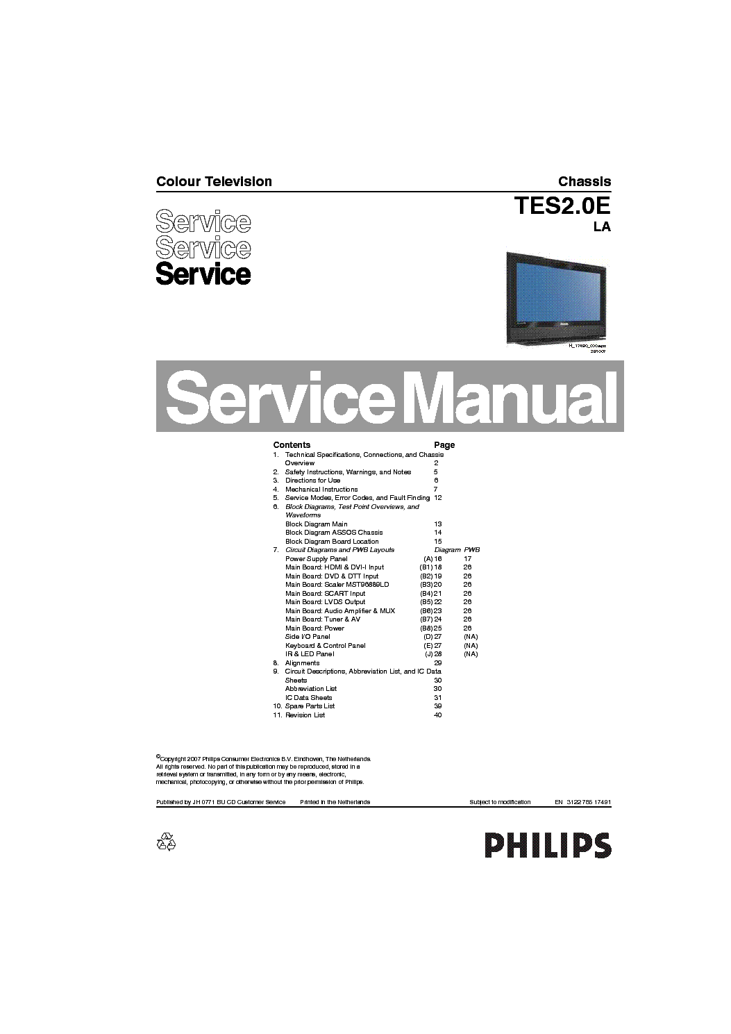 PHILIPS TC8.1L-CA Service Manual download, schematics