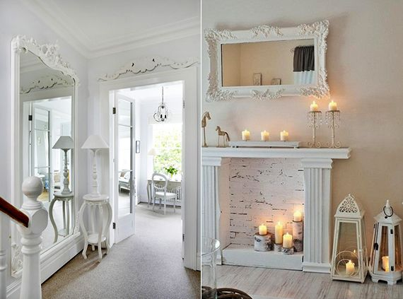 deko ideen mit weißen spiegeln im vintage stil als moderne ... - Wohnzimmer Deko Vintage