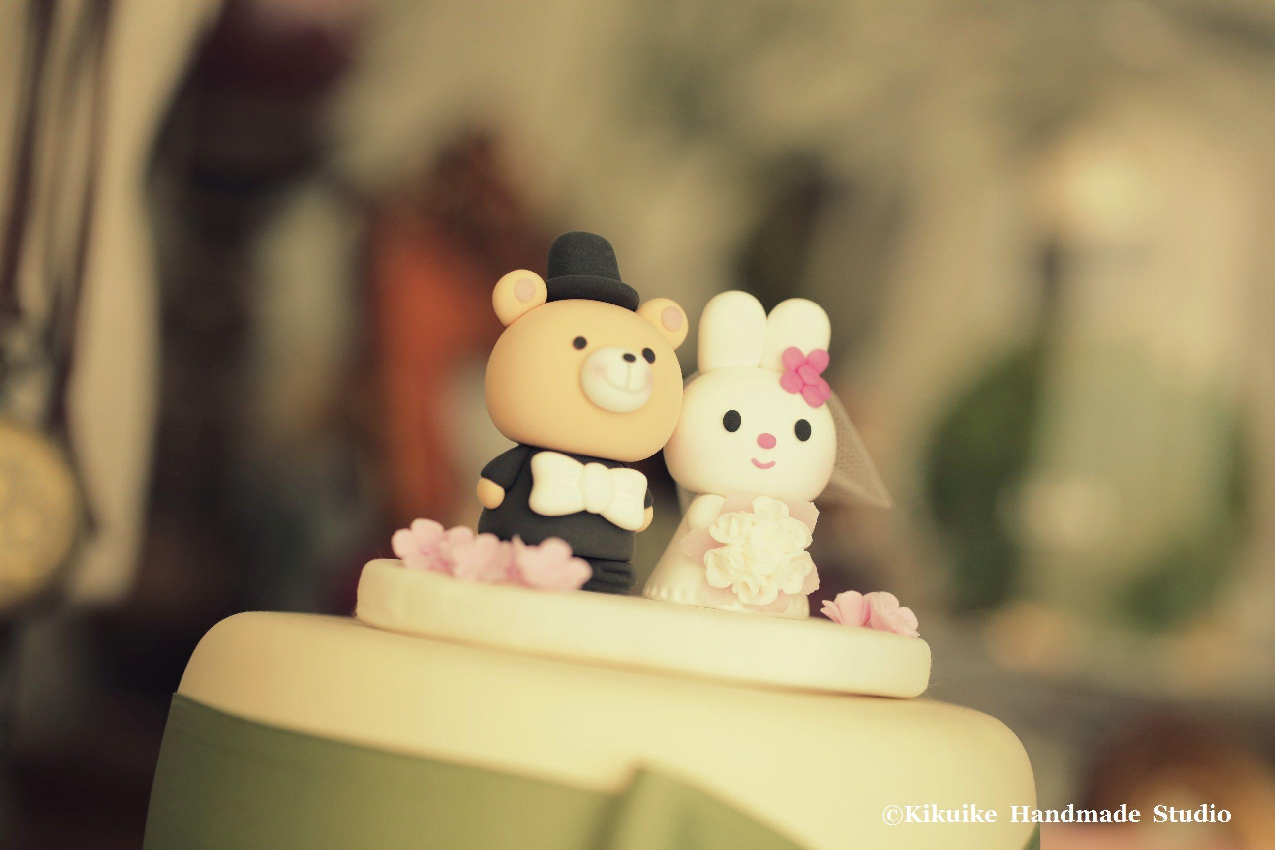 Rabbit and bear wedding cake topper,bunny and bear wedding cake ...