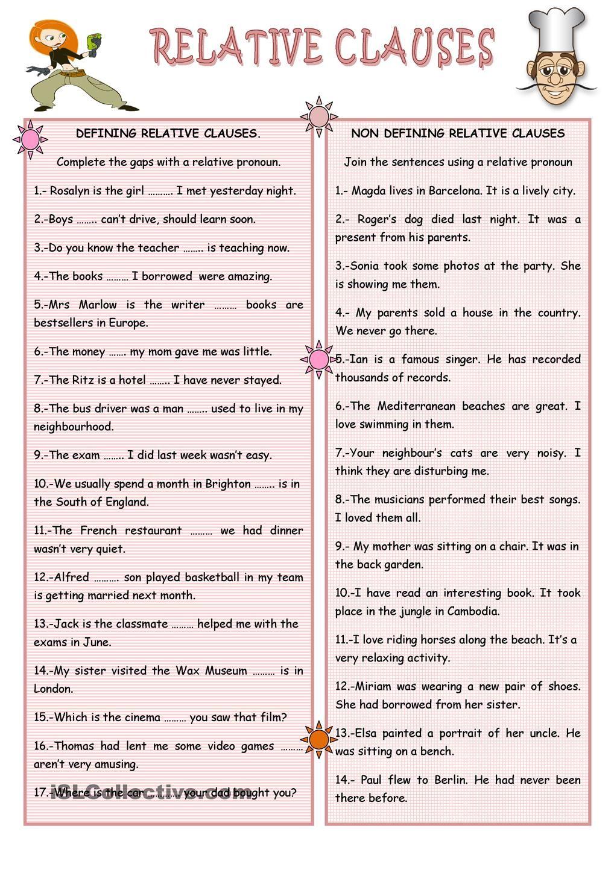 RELATIVE CLAUSES Clase de inglés, Aprender ingles