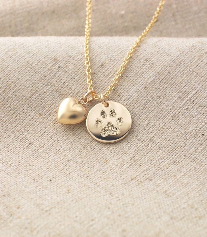 Forever in My Heart Paw Print Necklace 925 Sterling Silver Heart Pawprint Charm