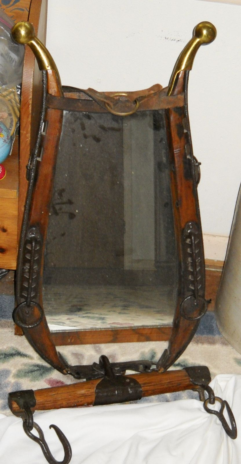 Brass Tipped Horse Harness Hames With Mirror And Singletree