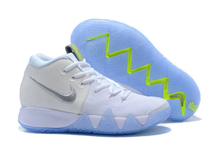 42cba9c4e874 Mens Nike Kyrie 4 White Silver Ice Blue Green Shoes