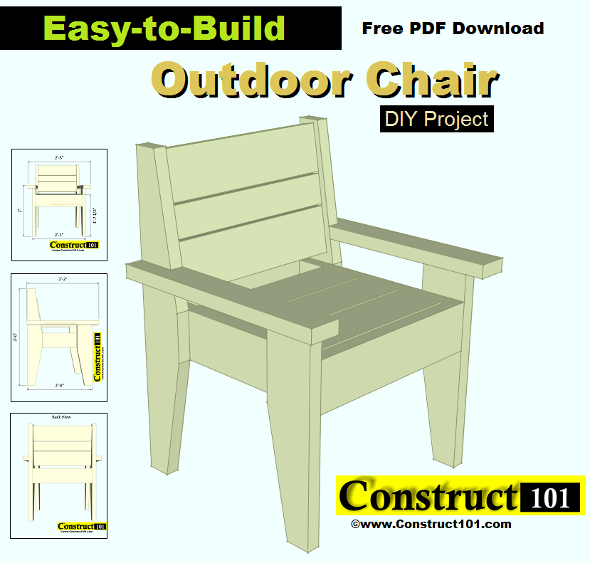 Outdoor Chair Plans Easy To Build Free Pdf Construct101 Outdoor Chairs Outdoor Chairs Diy Diy Chair