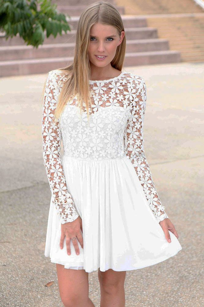Biala Sukienka Z Koronka Gipiura S36 M 38 Lato Lace White Dress Long Sleeve Backless Dress Mitzvah Dresses