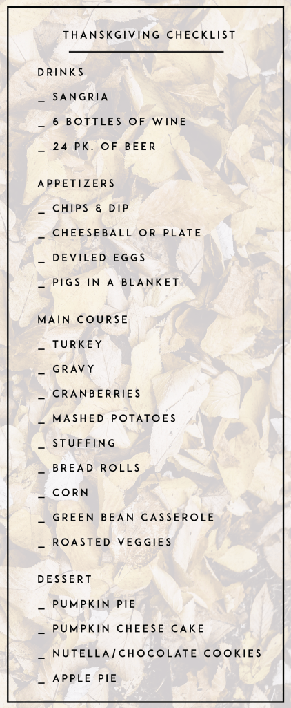 Thanksgiving Menu Checklist What To Cook For Thanksgiving