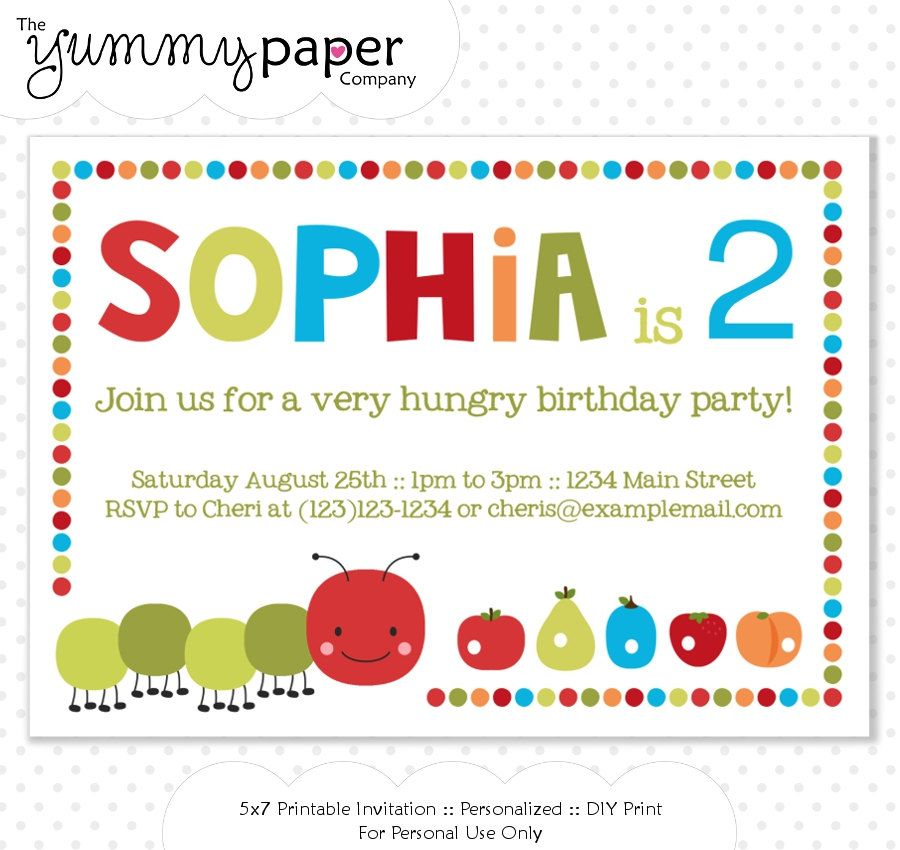 Hungry Caterpillar Party Invitation - Personalized Birthday ...
