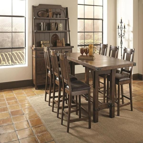 bastille brown 8piece counter height dining set overstock shopping big discounts on