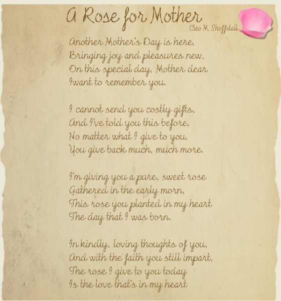 A Poem For My Deceased Mother On Mothers Day Deceased Mother