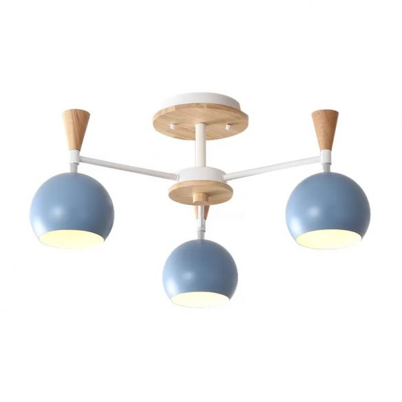 Wood And Metal Ceiling Light 3 Lights Semi Flush Mount Lighting With Orb Shade In 2021 Metal Ceiling Lighting Modern Ceiling Light Fixtures Semi Flush Mount Lighting