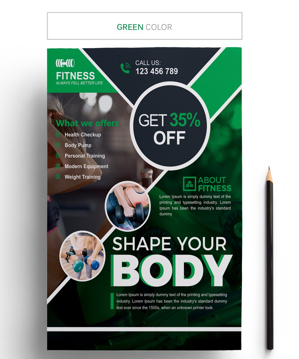 Fitness Flyer Corporate Identity Template 67912 (With