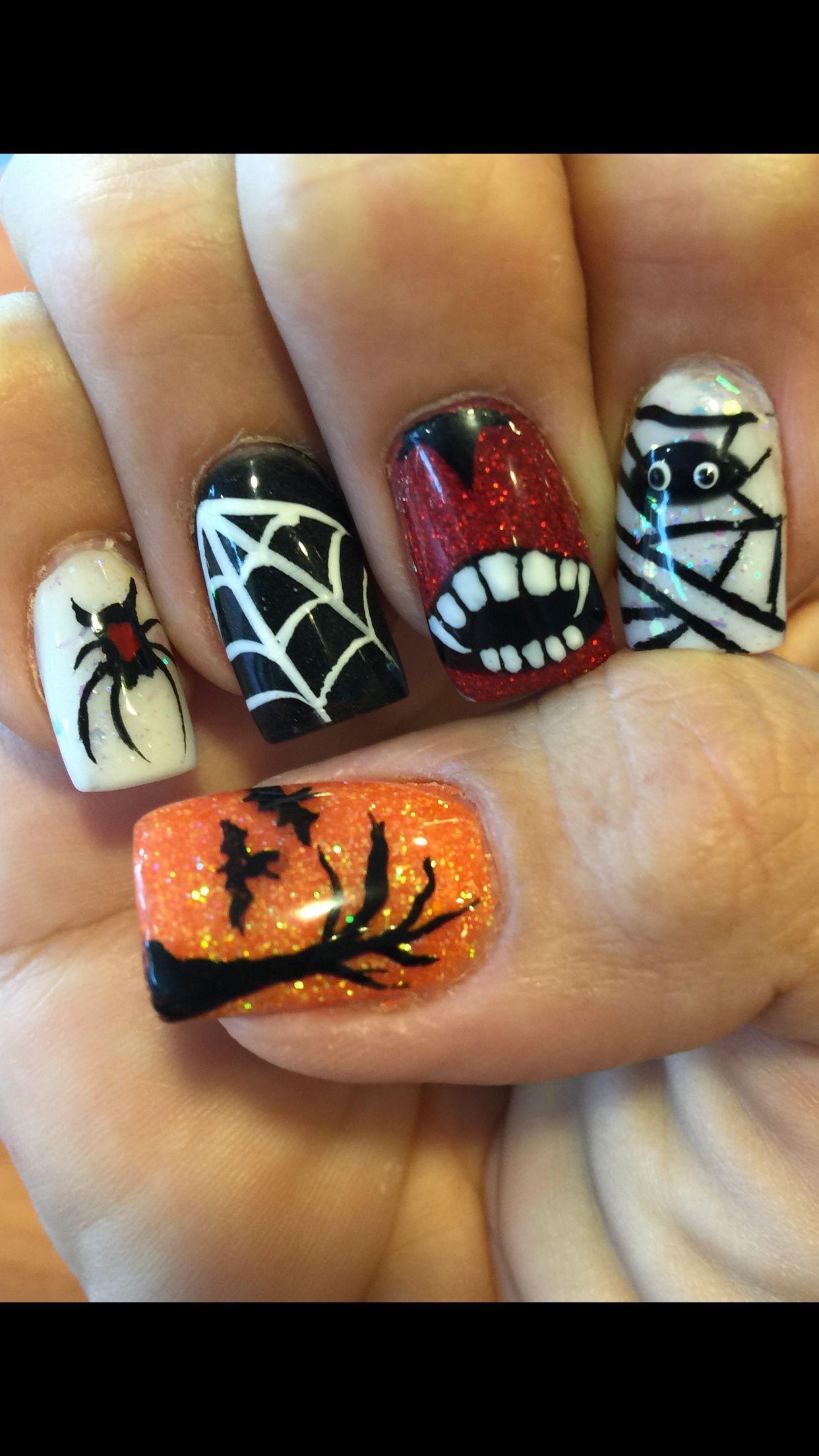 Halloween Acrylic Nail Design | Fall acrylic nails ...