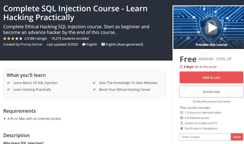 Complete sql injection course learn hacking practically in
