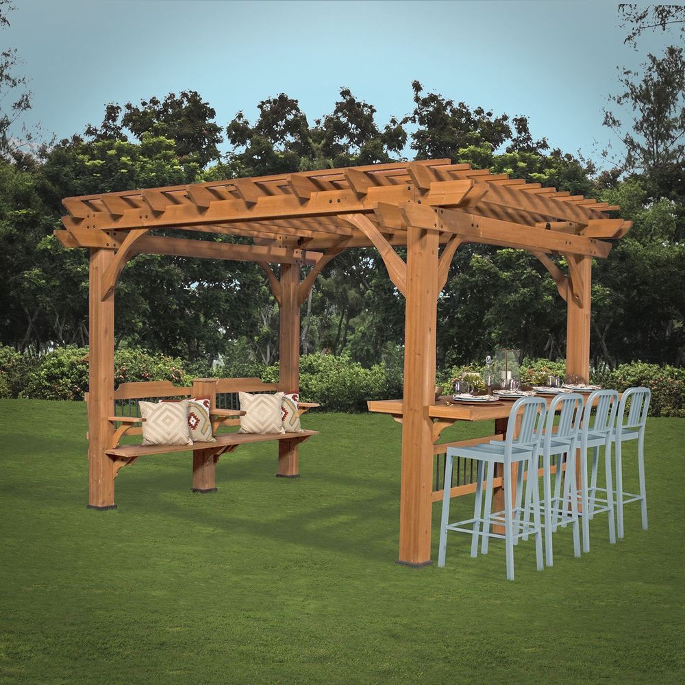 10 X 12 Cedar Pergola Outdoor Backyard Or Patio Free Shipping New Oasis Backyard Pergola Outdoor Pergola Outdoor Backyard